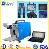 Máquina de grabado de la marca del laser de la fibra de la etiqueta de plástico del laser del CNC para los pantalones vaqueros