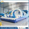 Diapositiva de agua inflable gigante, diapositiva de agua inflable ondulada con la piscina para la venta