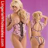 Ropa interior atractiva del mono Backless rosado de las mujeres