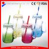 ふたが付いているジュースの飲料のメーソンジャーの飲料の込み合いのガラス瓶