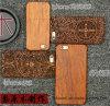 O laser gama alta do luxo grava a caixa de madeira real feita sob encomenda do telefone de pilha para o caso da tampa do telefone móvel do iPhone 5s/Se/6/6s