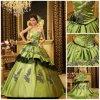 Novo chegado 2012 flores Strapless elegantes do plissado da bainha Appliqued o vestido do baile de finalistas do cetim de Tulle (DB-089)