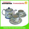 Reticolo floreale Teaset di ceramica con le tazze ed i piattini della teiera