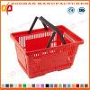 Panier en plastique de supermarché de main en plastique d'achats (ZHb174)