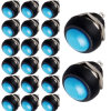 Interruttore basculante 20 X Blue 12mm Mini Momentary Round inserita/disinserita Push Button Switch