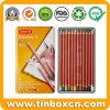 Le crayon coloré crayonne des boîtes-cadeau de caisse de bidon en métal