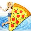 피자 수영풀 뗏목 거대한 팽창식 피자 부유물 팽창식 피자 수영장 부유물 거대한 조각