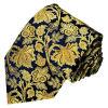 Les cravates en soie tissées de mode de bleu marine de couleur de fond d'or de Rose de fleur des hommes neufs de modèle