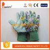 Перчатка хлопка цветка Ddsafety 2017 садовничая с PVC поставила точки на ладони