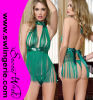 Le vert vert taquinent la robe sexy Z08 de lingerie de Babydoll de Sequin de frange
