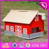 O brinquedo de madeira ajustado da casa do jogo útil engraçado da menina 2015, material seguro caçoa a casa de madeira do brinquedo, brinquedo de madeira W06A105 da casa das crianças da parte alta
