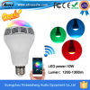 Ampoule légère basse futée de haut-parleur du téléphone E27 Bluetooth LED avec la commande de $$etAPP