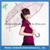 Da flor plástica reta relativa à promoção do presente da impressão guarda-chuva transparente do PVC do espaço livre