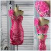 Um vestido frisado sexy bonito do baile de finalistas do pavão do cetim da flor do Short da bainha do ombro (PD-001)