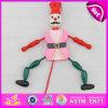 Burattino di legno della stringa del giocattolo divertente 2016, burattino di legno del giocattolo di tiro di migliore vendita, burattino di legno W02A058b del giocattolo popolare del bambino