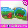 2015 Kids en bois Learning Book Confirm à En71, Interesting Children Wooden Book, Cartoon Story Wooden Book Learning Toys W12e005