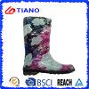Bottes de pluie de PVC de fleur de mode pour Madame (TNK70018)
