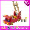 Il nuovo giocattolo del camion dei vigili del fuoco del prodotto 2015 molto Nizza, disegno di amore scherza il giocattolo del camion di lotta antincendio, il giocattolo commovente di legno W04A158 del camion dei bambini rossi