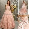 ピンクのハンドメイドの花のイブニング・ドレス(Z017)