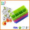 BPA livram a bandeja do cubo de gelo do silicone do quadrado do uísque de 8 cavidades com tampa