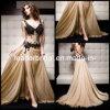 2014 Robes de bal Décoletté plongeant Champagne mousseline de soie noire Broderie dos nu de soirée de mariage robe de soirée E13233