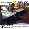 Snow White Polished Square Marble Top Dining Table per Restaurant (BMG-C003)