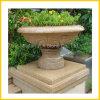 G682黄色い花こう岩の石の庭の植木鉢