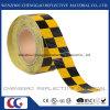 PVC 노랗고와 까만 Chequer 사려깊은 안전 경고 테이프 (C3500-G)
