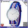 Reloj ocasional del reloj del diamante del deporte de las mujeres del reloj del cuarzo de la manera de los relojes 2016 del nilón Yxl-252 de las rayas de las mujeres clásicas de la venda