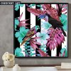 فصل صيف فرقعة لون جدار فنية استوائيّة حيوان برّيّ نوع خيش طبعة
