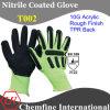 10g Зеленый акрил трикотажные перчатки с черным Nitrile штукатуркой & TPR Назад / EN388: 3122
