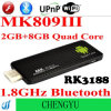 PC Dongle ROM Bluetooth WiFi RAM 8GB коробки 4.2 HDMI 2GB сердечника Rk3188 1.8GHz Androind TV квада Mk809 III миниый