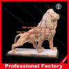 Het Snijden van de Steen van de leeuw Marmeren Dier voor de Decoratie van de Tuin