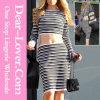 Горячая сексуальная черная белизна Striped комплект юбки
