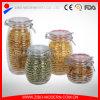 Le choc en verre de vente en gros en verre faite sur commande de choc avec du miel rond de boîte d'espace libre de couvercle cogne la glace chaude de boîte de vente