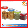 4 PC Square Glass Food Use Storage Jars mit Airtight Plastic Lid