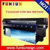 Impressora solvente de alta resolução 10FT de alta velocidade de Funsunjet Fs-3202k 3.2m Eco com dois cabeça de Epson Dx5