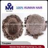 O cabelo barato da venda por atacado da fábrica de China remenda o Toupee dos homens
