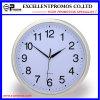 Reloj de pared plástico redondo del marco de la impresión de plata de la insignia (Item21)