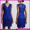 Späteste Auslegung-Frauen-beiläufiges Kleid-elegante Stickerei-mittlere Hülsen-westliche Art