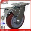 Rad-Hochleistungsschwenker-Fußrollen PU-6X2 mit Gesamtbremse