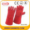 産業安全作業手袋(11104)を溶接する赤い革靴のそぎ皮