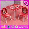 Tabela barata e cadeira de madeira do produto da fábrica ajustadas para as crianças, a tabela das crianças da mobília do jardim de infância e a cadeira W08g149
