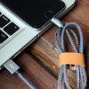 Cable de cuero del USB de la sinc. de los datos del cargador del vaquero para el iPhone