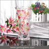 Vaso domestico di vetro di disegno del giglio della decorazione