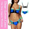 Positionnement bleu de bikini de bloc de couleur de décor de fermeture éclair