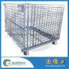 Хранение пакгауза складывая штабелирующ стальной контейнер ячеистой сети с колесами