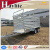 remorque de transport de moutons de bétail de bétail utilisée par remorque de ferme d'essieu double du pied 10X5
