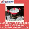 Servicio del control de calidad/del examen para la cazuela de aluminio roja con la capa de cerámica