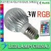 ampola mágica com controlo a distância sem fio, bulbo claro do diodo emissor de luz RGB da cor de 3W E27 E14 GU10 Gu5.3 B22 MR16 16 do diodo emissor de luz do diodo emissor de luz RGB do RGB, lâmpada do diodo emissor de luz